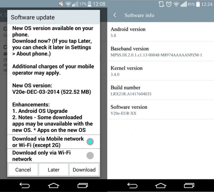 LG G3 receives Android 5 0 OTA update with software version V20e and