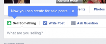 Facebook 'sell something' button