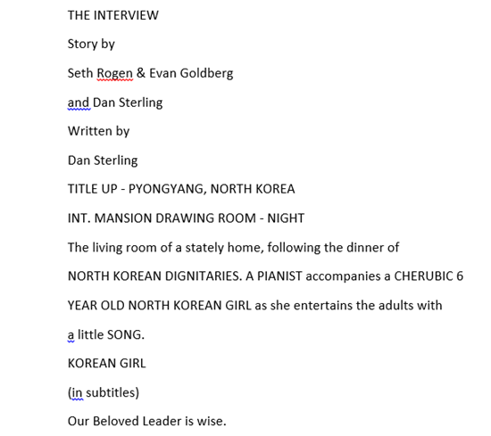The Interview Script leaked online
