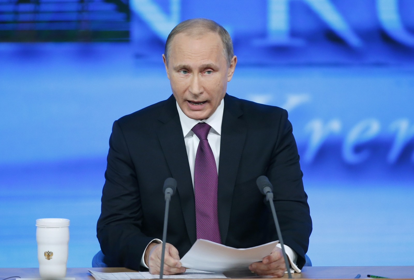 Russian President Vladimir Putin speaks during his annual end-of-year news conference