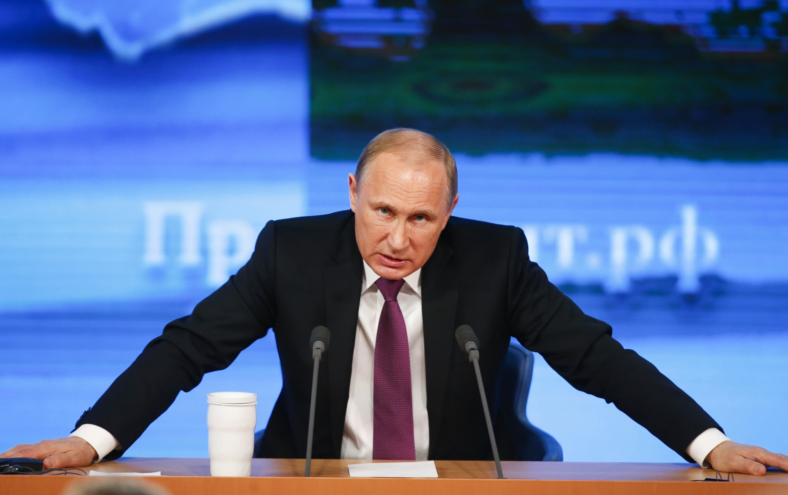 Russian President Vladimir Putin speaks during his annual end-of-year news conference in Moscow, December 18, 2014.