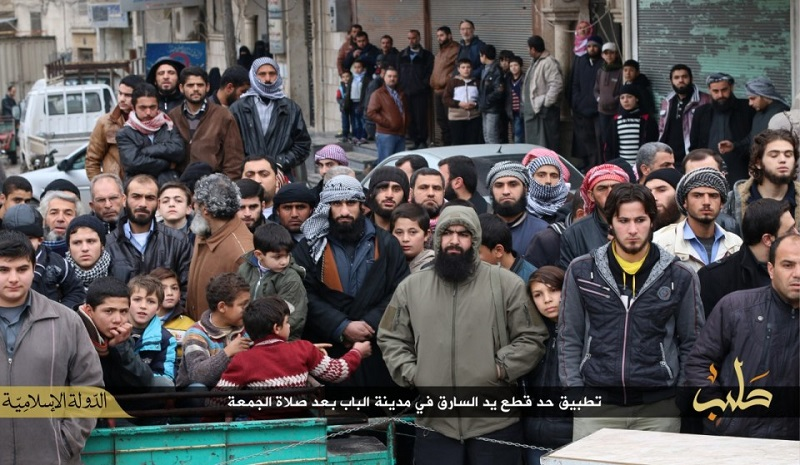 Crowds gather in Aleppo to watch the amputation being carried out