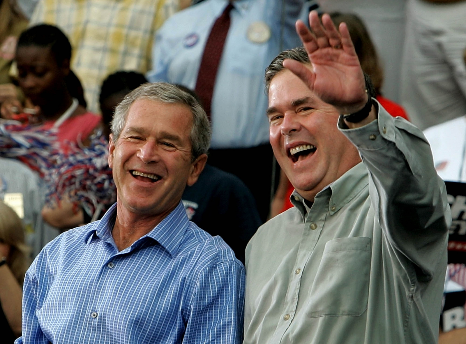 Former president George W Bush and his brother Jeb Bush, a 2016 presidential candidate? (Getty)