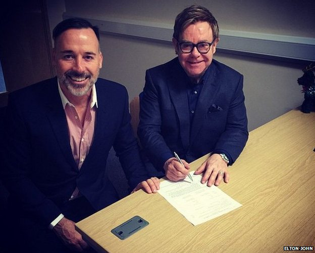 Sir Elton John and David Furnish's Instagram photograph captioned: