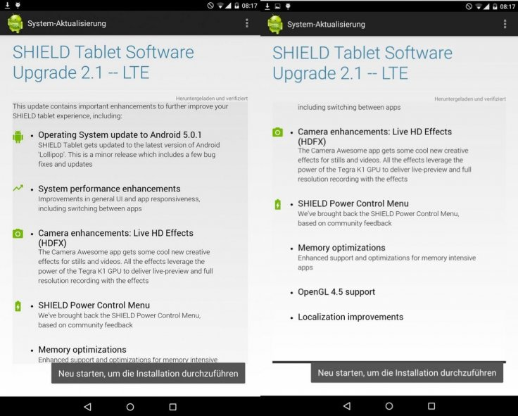 Nvidia Shield Tablet gets Android 5 0 1 update with performance