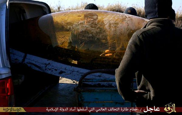 Picture allegedly showing the remains of the F-16 shot down by isis near Raqqa, Syria.
