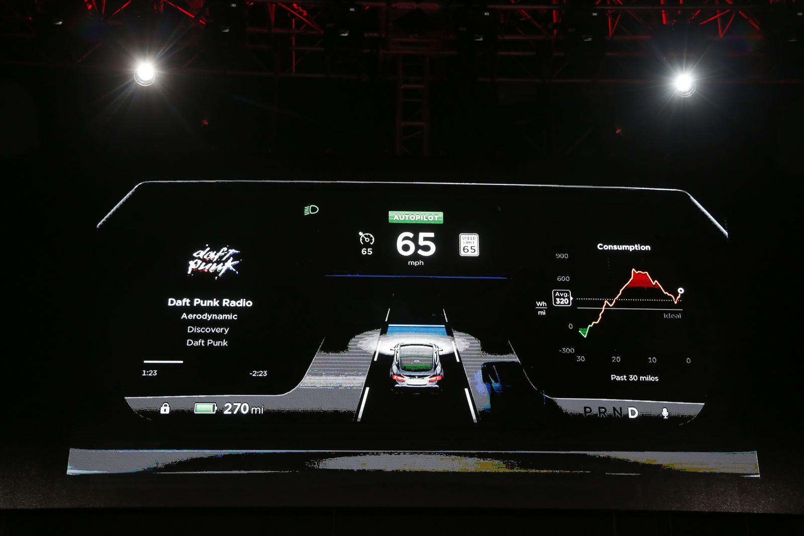 The dashboard of the Tesla Model S car with features that will allow its electric sedan to park itself and sense dangerous situations.