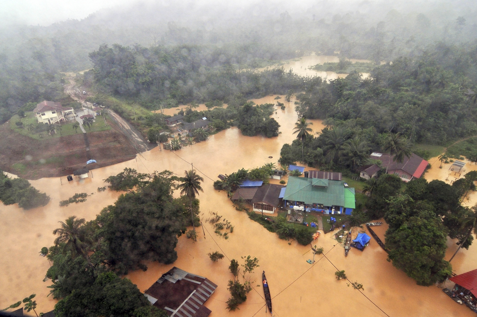 An aerial view of flooded streets of the National Park in Kuala Tahan, Pahang December 24, 2014.