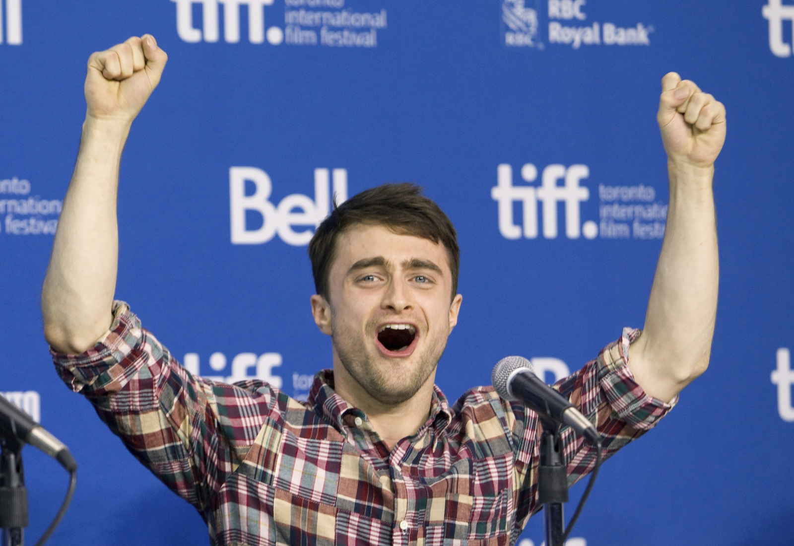 "Actor Daniel Radcliffe at a news conference for the film ""The F Word"""