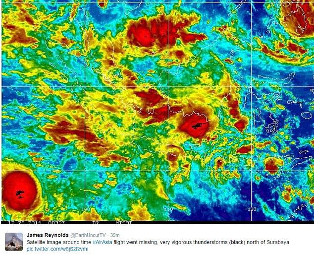 Satellite picture of weather in region when Flight 8501 vanished