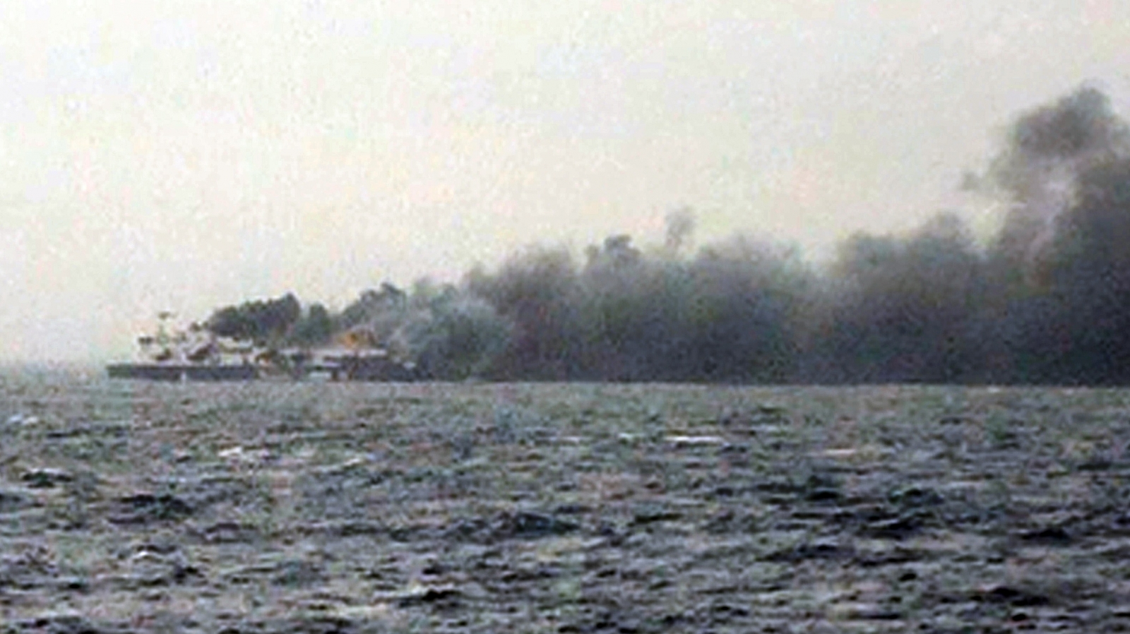 The Norman Atlantic on fire this afternoon. (Skai TV/AFP/Getty Images)