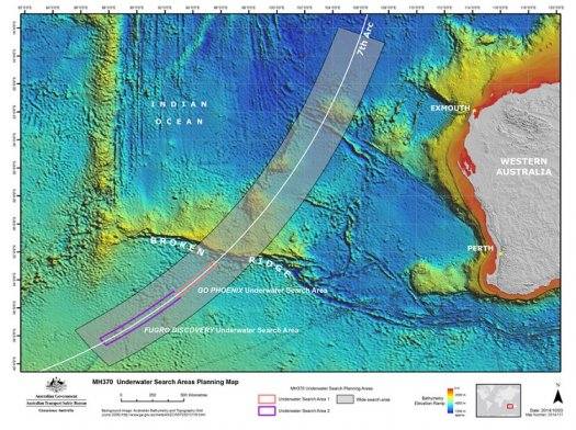 MH370 Underwater Search Areas Planning Map