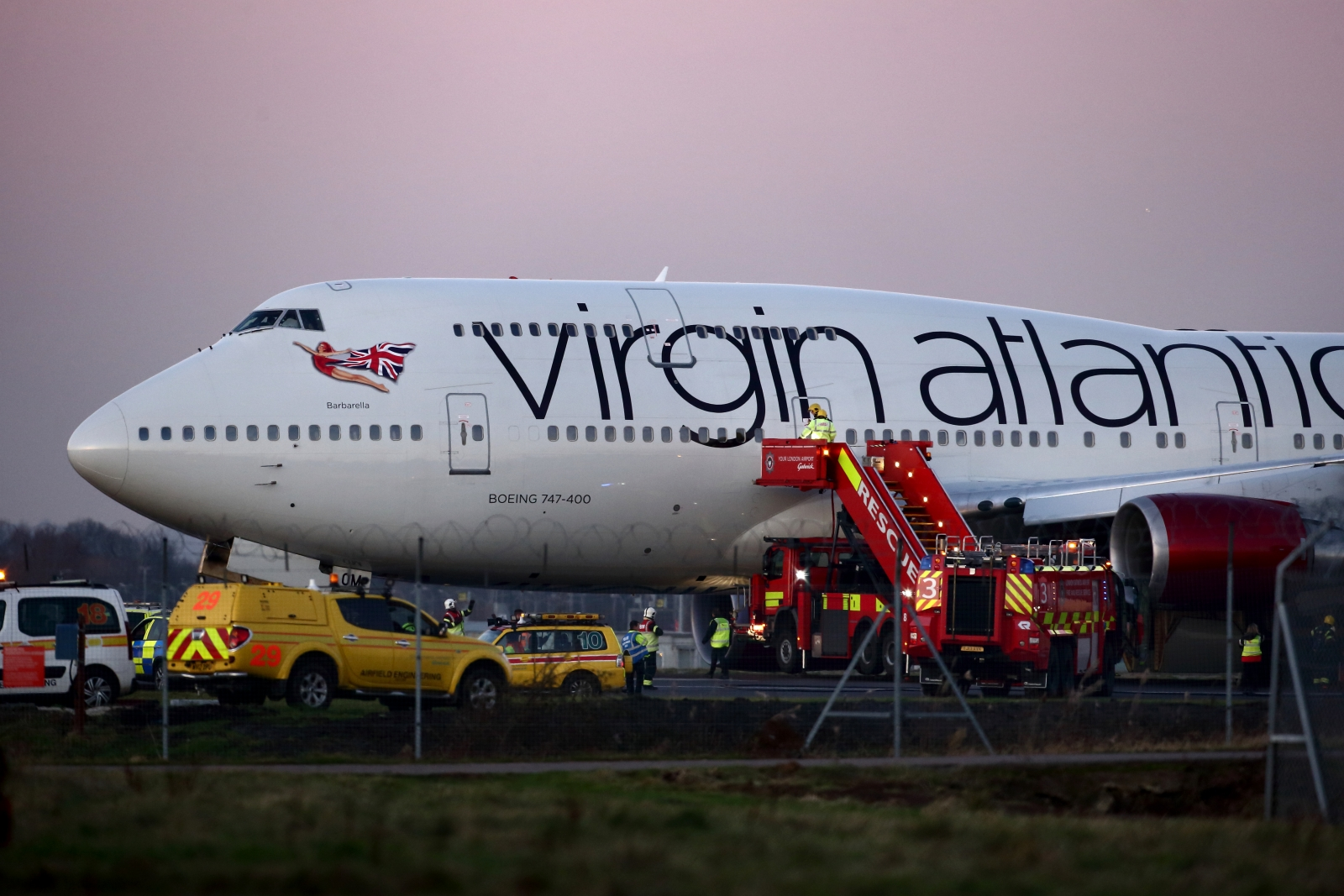 Flight VS43 after making an emergency landing at Glascow today (Getty)