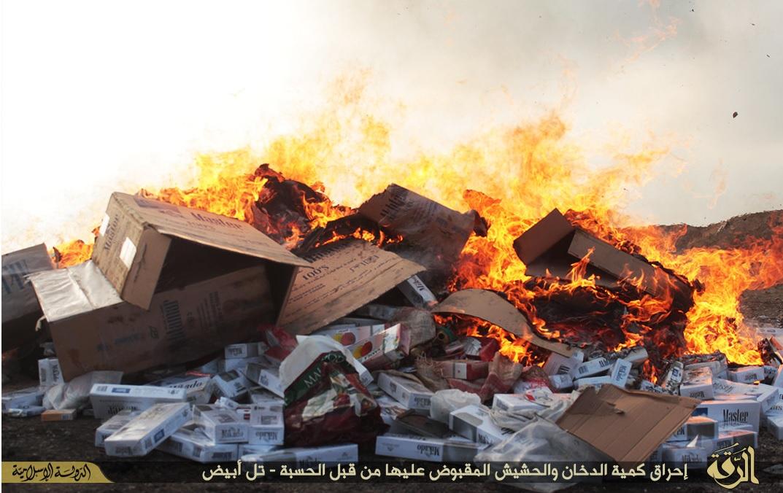 Islamic State burn cigarettes and drugs