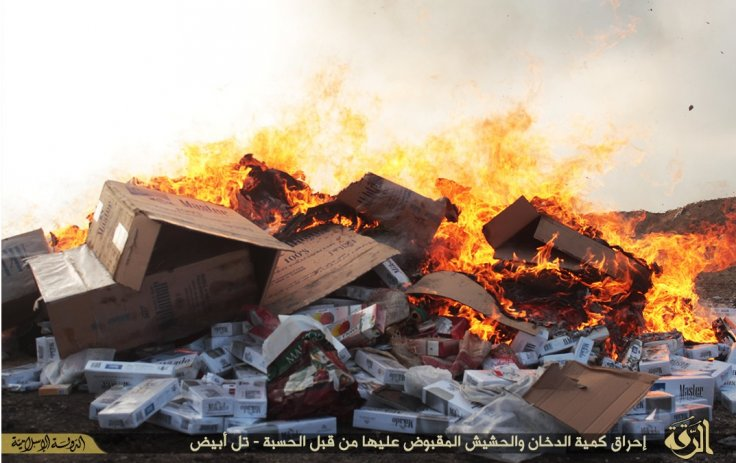 Islamic State burn cigarettes and drugs