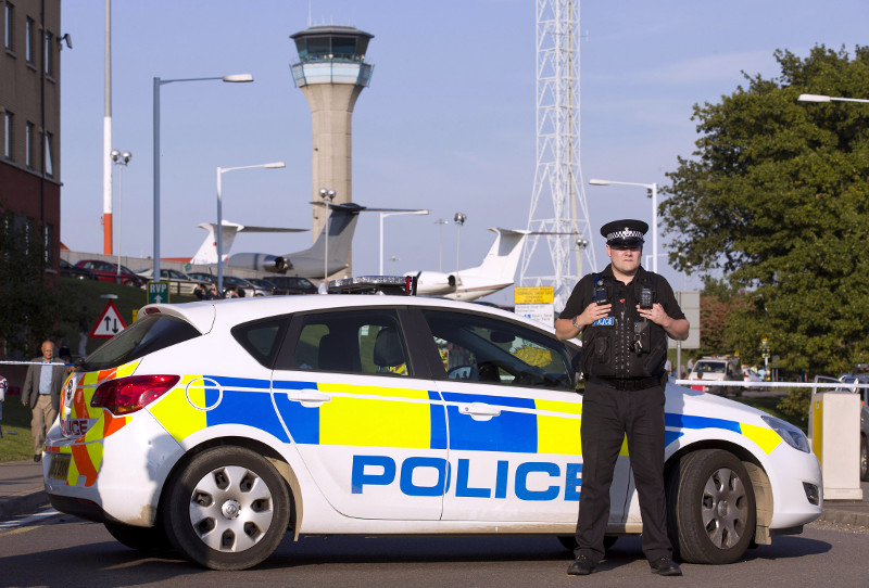 Police car outside London Luton Airport