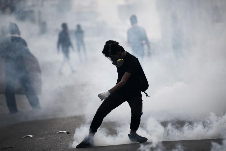 A Bahraini protester