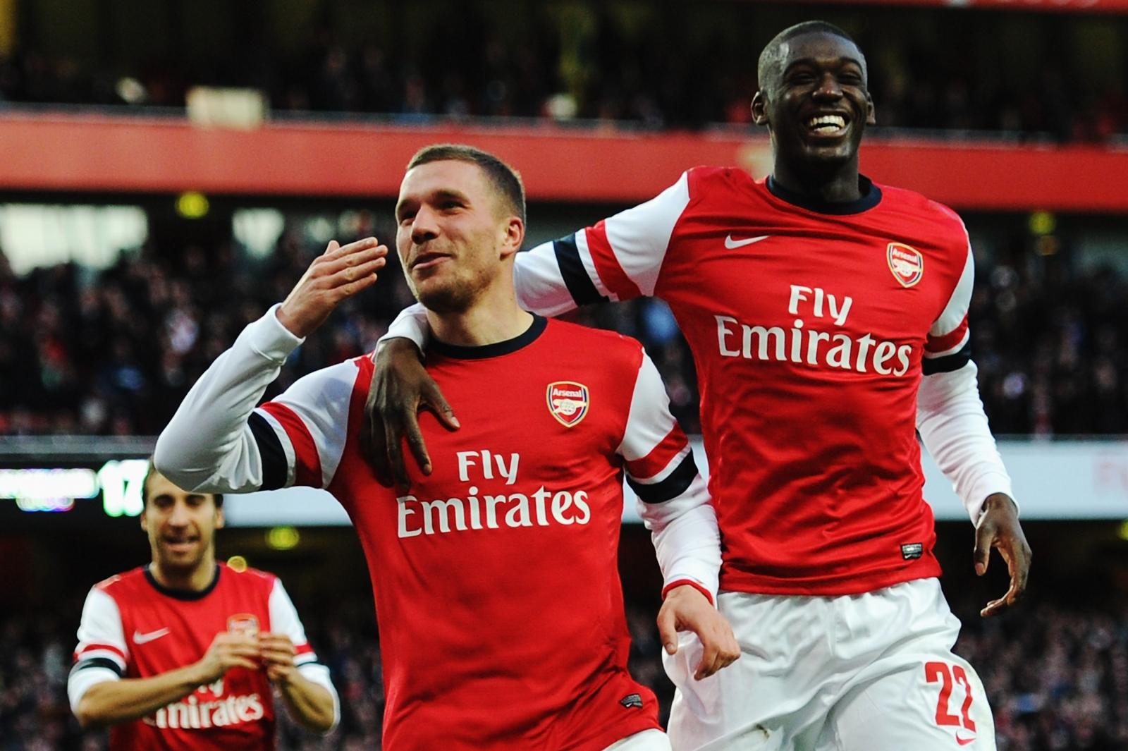Lukas Podolski and Yaya Sanogo