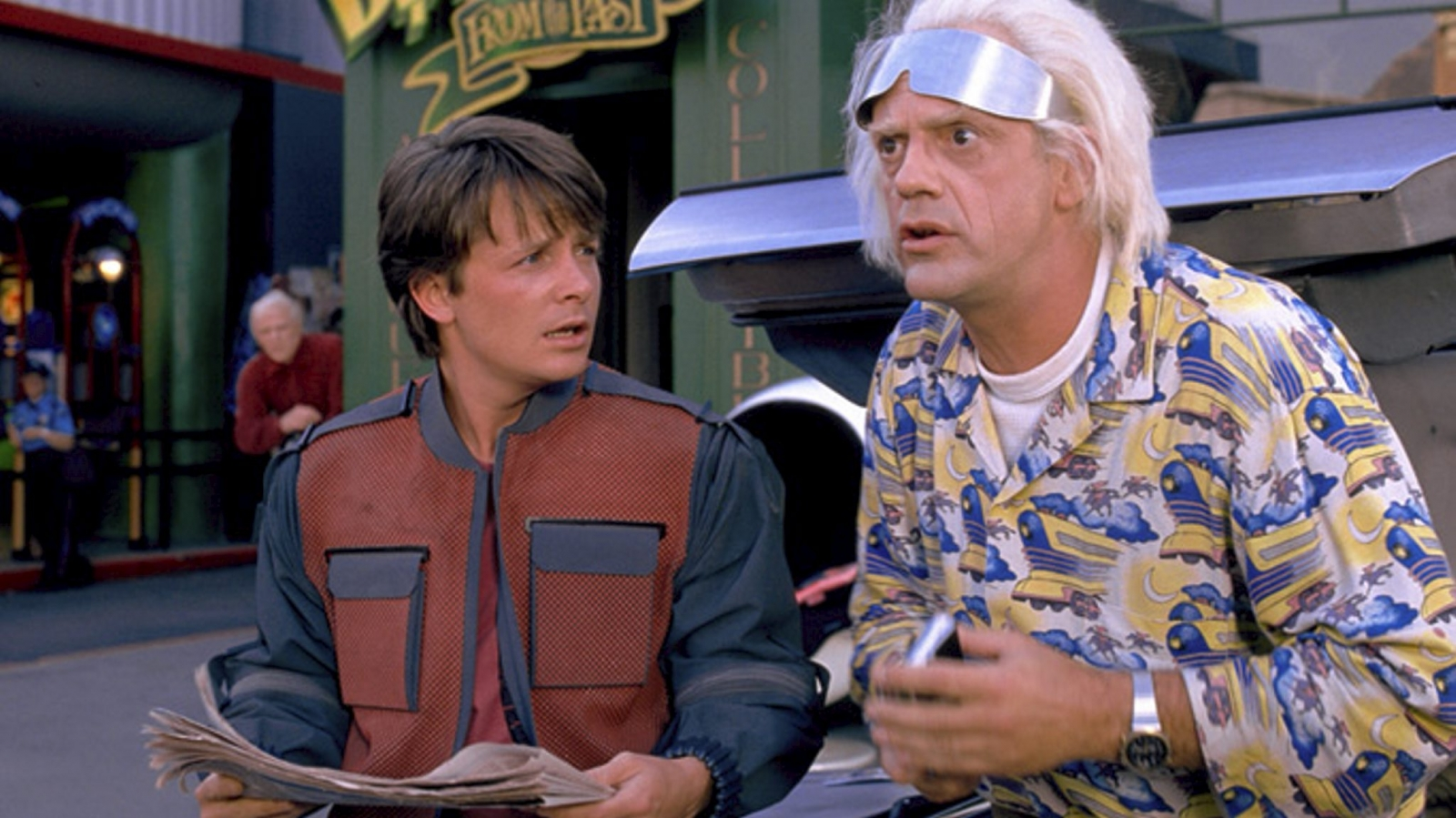 Marty McFly and Doc Brown visit the year 2015 in Back to the Future II