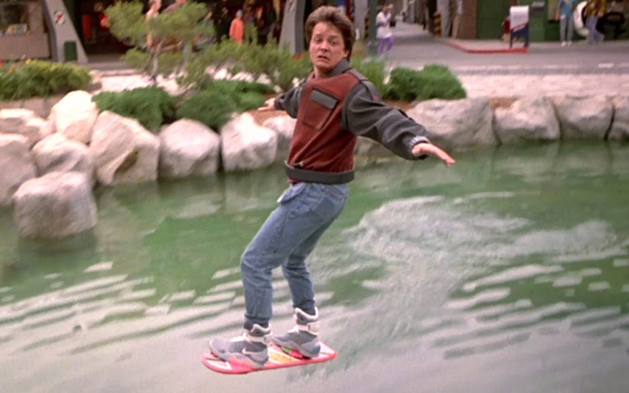 Marty McFly uses a Mattel hoverboard to escape from thugs in 2015