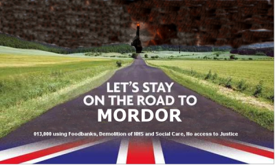 Conservatives road election poster mordor