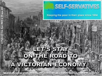 Conservatives road election poster Victorian economy