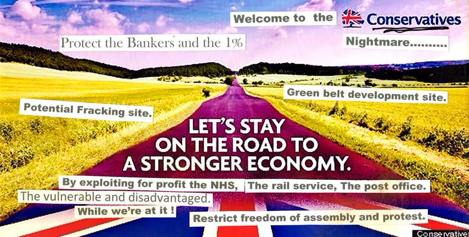 Conservatives road election poster UK Uncut