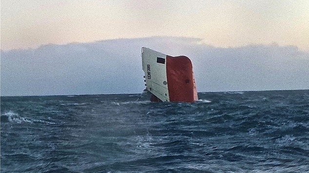 The Cemfjord, discovered upturned off the north coast of Scotland (RNLI)