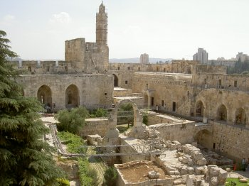 The Tower of David, an ancient citadel located near the Jaffa Gate entrance to the Old City of Jerusalem