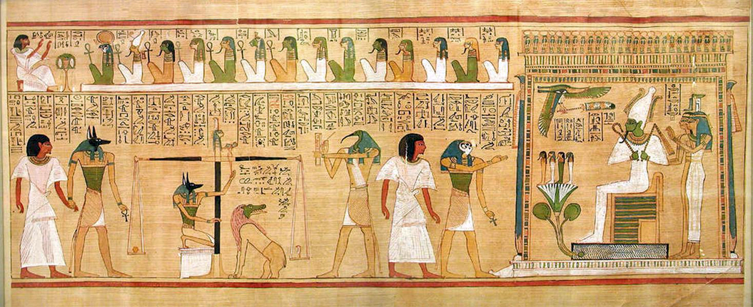 A papyrus scroll showing