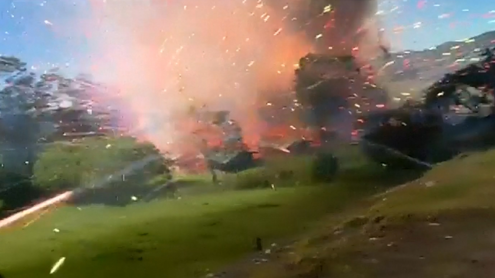 Colombia fireworks factory explosion caught in dramatic video