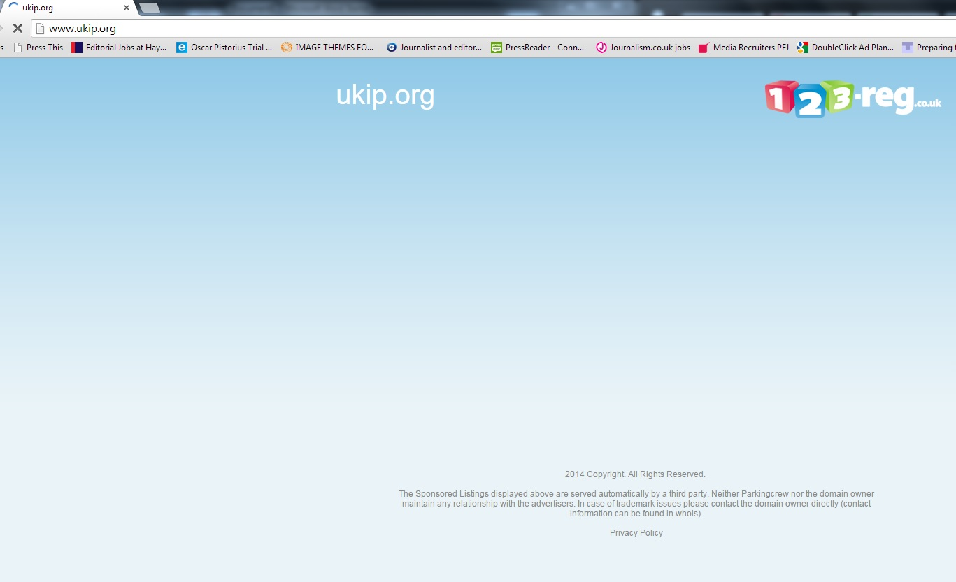 This was the screen stil greeting web users near midday on Tuesday