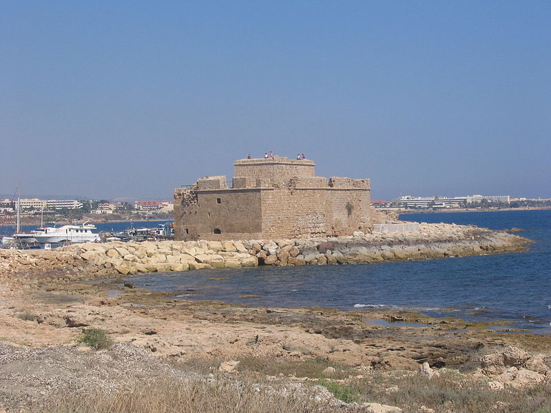 The medieval Paphos Castle located on the edge of Paphos Harbour in Cyprus