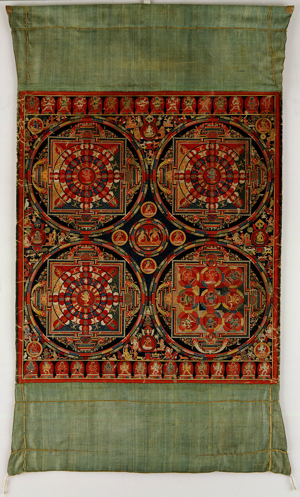 'Four Mandala Vajravali Thangka' (c. 1430), Tibet, opaque watercolor on cloth