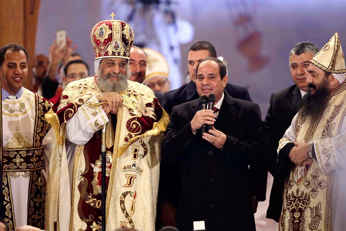 Egypt: President Abdel Fattah al-Sisi and Coptic Pope Tawadros II attend a Christmas Eve Liturgy at St Mark's Cathedral in Cairo