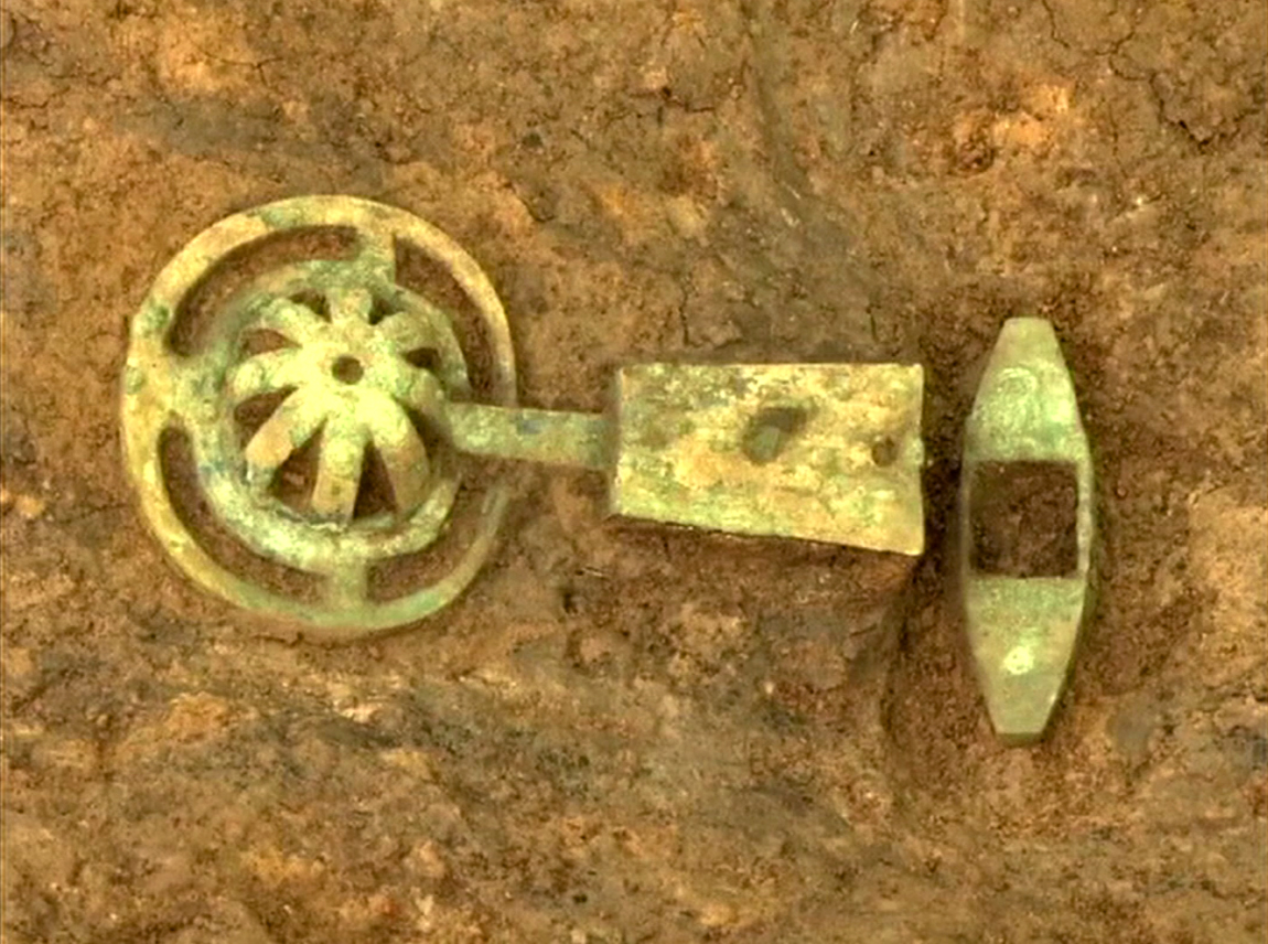 A bronze chime from a Bianzhong musical instrument, the oldest ever found in China, unearthed from the tomb