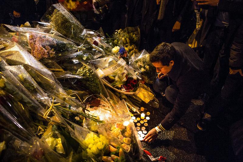 Paris Charlie Hebdo flower tributes
