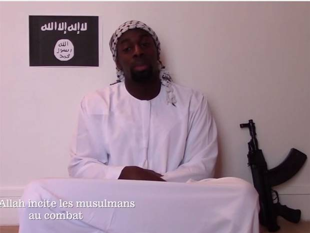 Ahmed Coulibaly in a video released today, in which he says he carried out the attacks in the name of Islamic State.