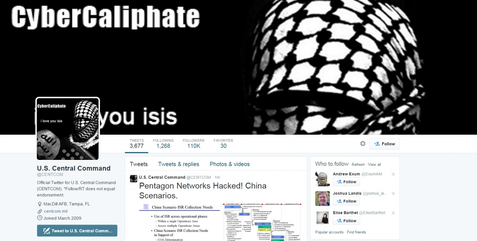 US Central Command Twitter Hacked