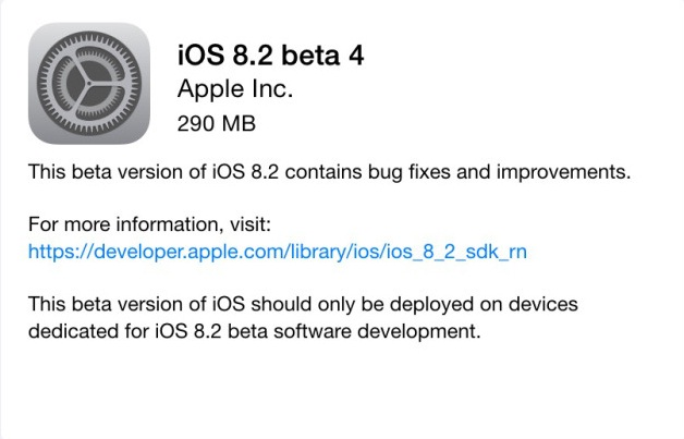 iOS 8.2 Beta 4