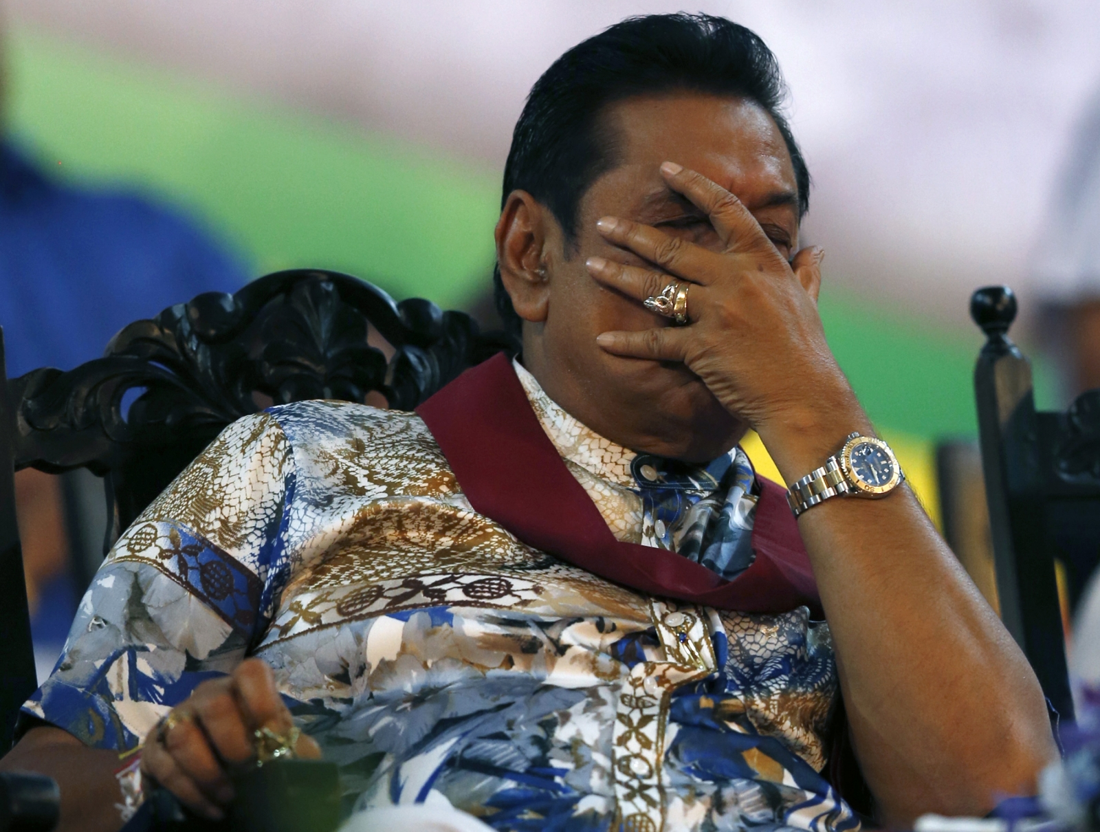 Written in the stars: President Mahinda Rajapaksa reacts during final rally as Sri Lanka president