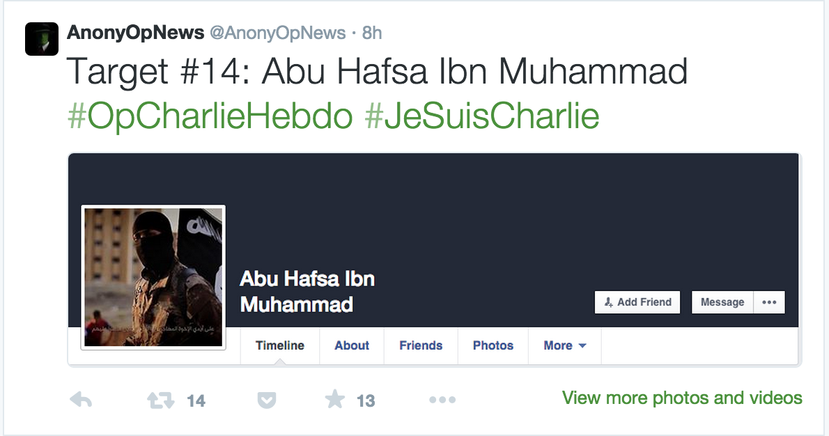 Anonymous #OpCharlieHebdo identifies Jihadist Facebook profiles