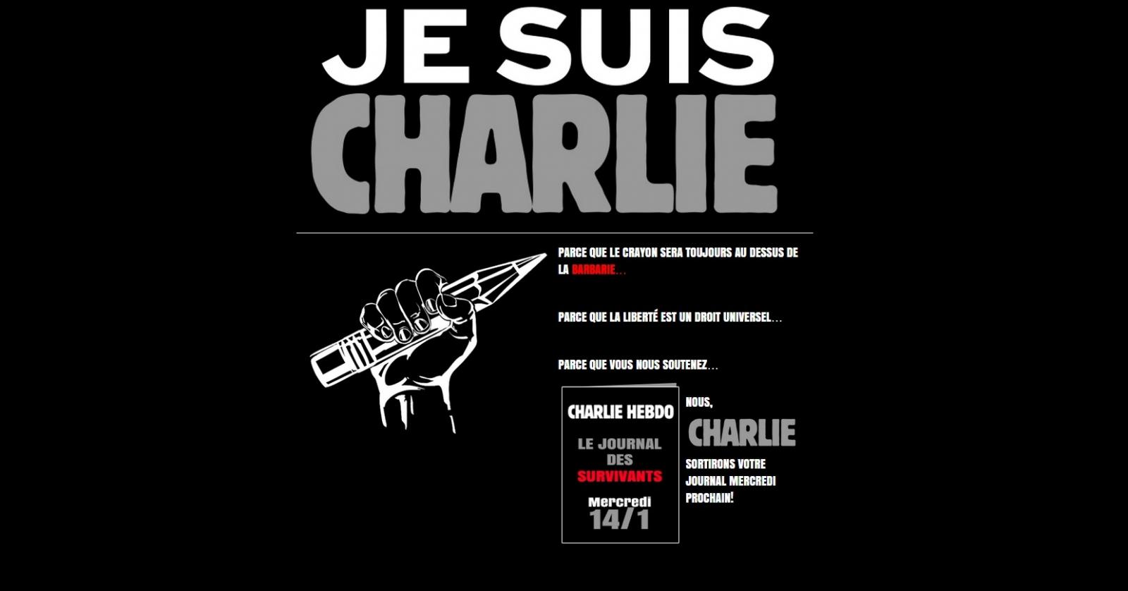 Charlie Hebdo Survivors' edition cover: Prophet Muhammed holding #JeSuisCharlie