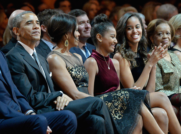 President Barack Obama, First Lady Michelle Obama, Sasha Obama and Malia Obama