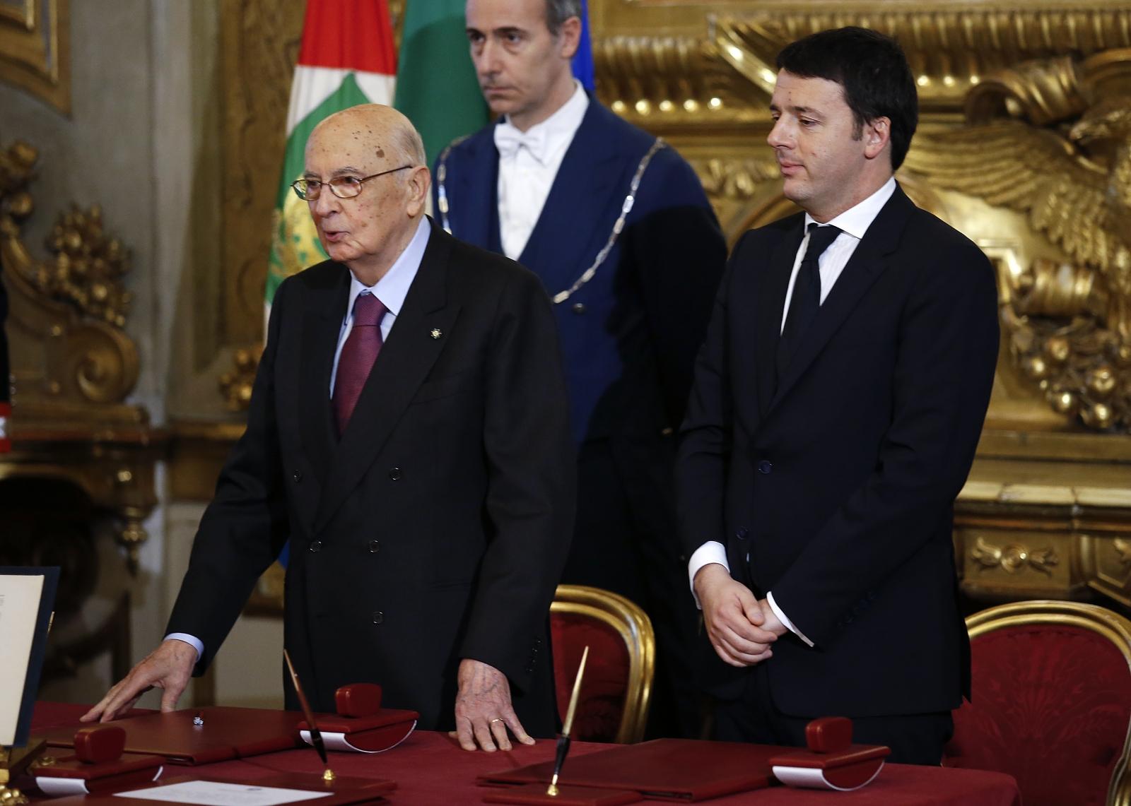 Italy's resigning President Giorgio Napolitano Prime Minister Matteo Renzi.