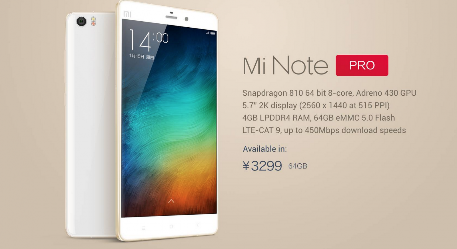 Mi Note Pro Launched with Snapdragon 810