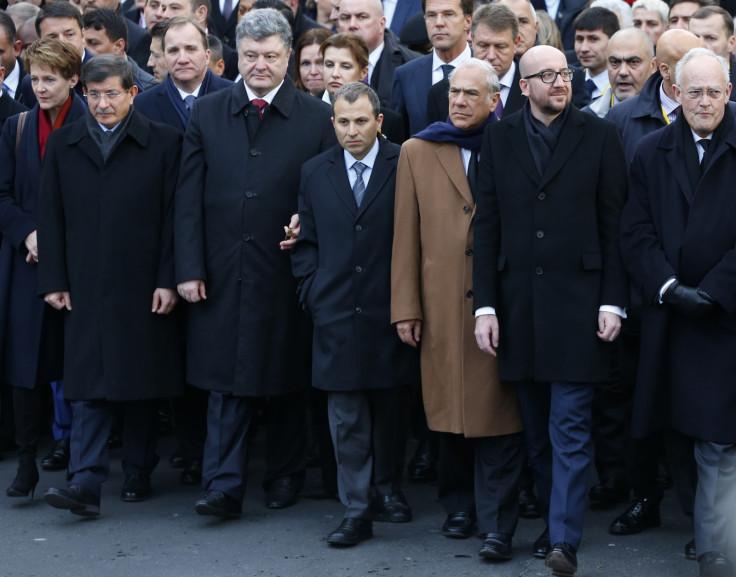 Switzerland's President Simonetta Sommaruga (L), Turkey's Prime Minister Ahmet Davutoglu (2ndL), Ukraine's President Petro Poroshenko (3rdL), Organization for Economic Co-operation and Development (OECD) Secretary-General Angel Gurria (3rdR), Belgian P