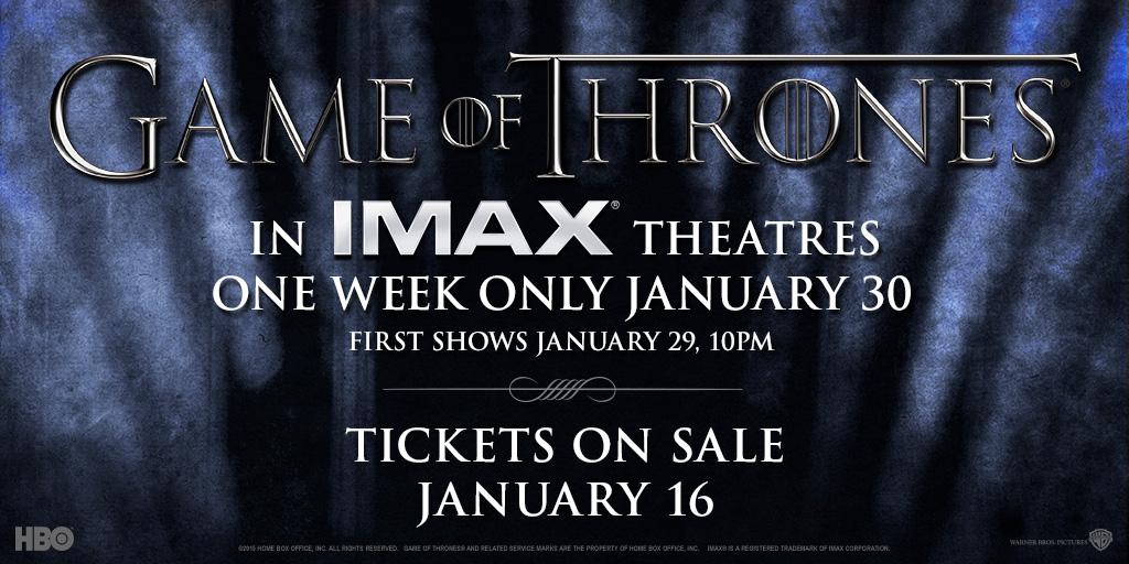 Game of Thrones season 5 trailer on IMAX