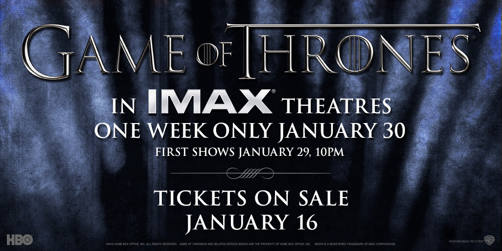 Game of Thrones season 5 trailer on IMAX