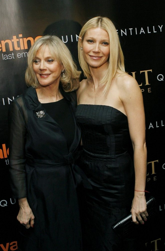 "Actress Paltrow arrives with her mother actress Danner at premiere of film ""Valentino: The Last Emperor"" in New York."